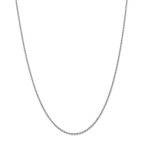 14K bianco oro 2.0mm fatto a mano regolari corda catena collana 76,2cm