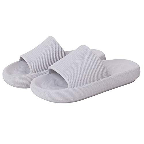 MFFACAI Zapatillas de Fondo Grueso Zapatos de Baño para Mujer Zapatillas Zapatillas Unisex Zapatillas Cómodas de Ducha para El Hogar Diapositivas de Rayas de Verano Zapatillas de Baño Planas