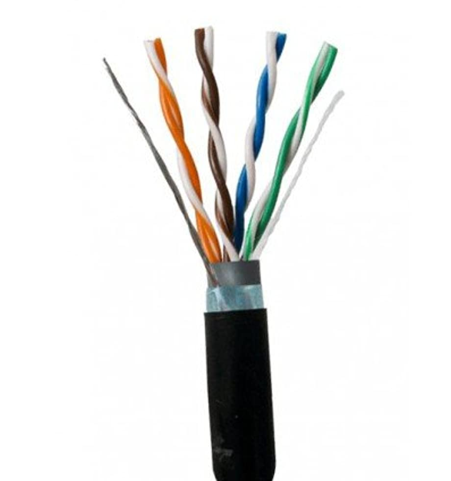 Outdoor Shielded Bulk Ethernet Cat5e Cable Black 300ft