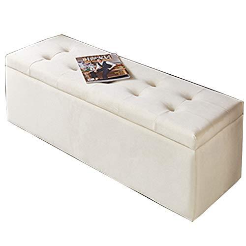 LJFYXZ Plegable Ottoman Taburete Cambiador de Zapatos de Tela Caja de almacenaje 150 kg Sofá Rectangular para Salón Dormitorio (Color : Beige, Size : 60cm/23.6in)