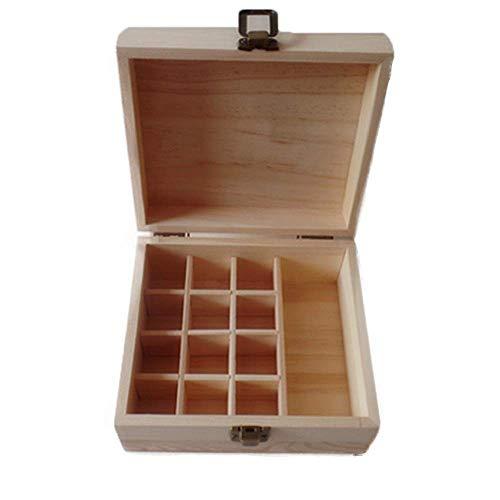YO-TOKU Makeup Box 13 Slot Etherische oliën Storage Houten Doos Etherische oliën Houten Case Perfect for Beamers (Kleur: Zwart, Maat: 15X16.9X8CM) Cosmetische opslag Rack grote capaciteit Professional