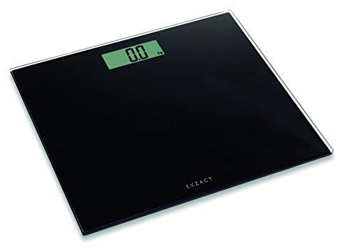 Exzact Báscula Corporal Electrónica/Báscula de Baño Digital/Escala Personal - Ultra Delgada 1.7 CM Espesor -150 kg / 330 LB - Plataforma de Vidrio de Color (Negro)