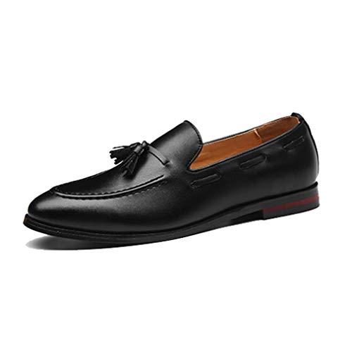 Mocasines de Cuero para Hombres Borla Zapatos de conducción con Punta Redonda Mocasines Boda de Negocios Zapatos de Trabajo de Oficina Formales