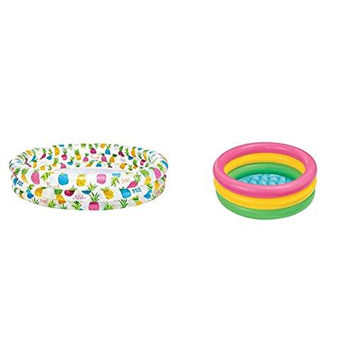 Intex Fishbowl Pool - Kinder Aufstellpool - Planschbecken - Ø 203 x 51 cm - Für 2+ Jahre & Sunset Glow Baby Pool - Kinder Aufstellpool - Planschbecken - Ø 86 x 25 cm - Für 1-3 Jahre