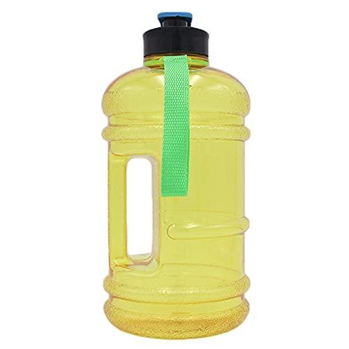 Botella Dagua, Jarra Agua 2.2L 100% A Prueba Fugas Sin BPA con Asa Botella Agua Grande para Gimnasio para Deportes Trabajo Al Aire Libre Montañismo Correr Ciclismo,Amarillo