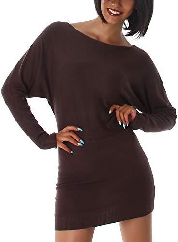 StyleLightOne Jela London dames lange trui gebreide jurk stretch getailleerd vleugelmouwen (36/38)