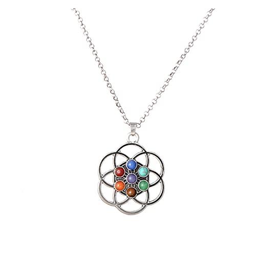 DAIM Árbol de la Vida de la Vida de la Vida Geometría Sagrada 7 Chakra Catrizaje de curación Collar, Piedras Reiki Joyería Colgante (Color : F)