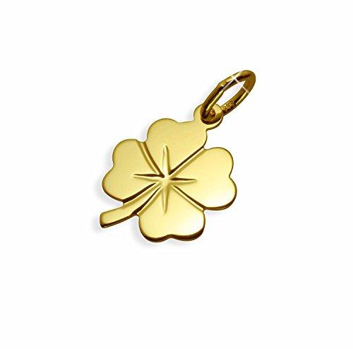 Echt 14 Karat Gold 585 Anhänger Kleeblatt Glücksklee (Art.211011) Gratis Express Gravur