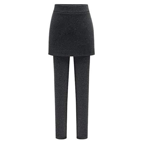 Frauen Fake Two Pieces Plus Samt Leggings Plus Mode Einfarbiger Rock Warme Super Elastic Slim Baumwollhose Thermo Leggings mit hoher Taille(XXXXL,Schwarz)