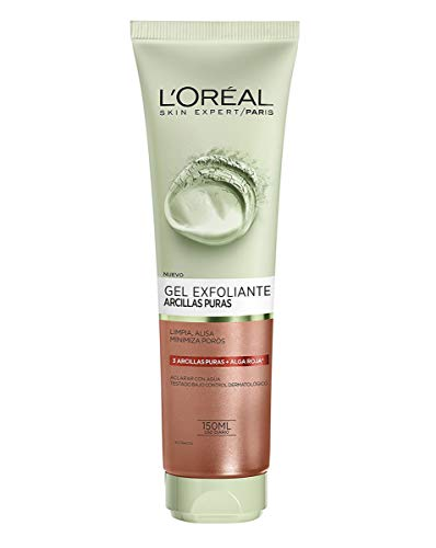 L'Oreal Paris Dermo Expertise - Arcillas Puras Gel Limpiador Exfoliante, Color Rojo - 150 Ml