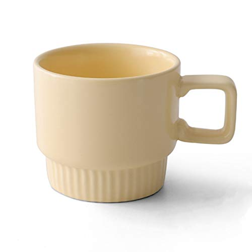 Ceramic Coffee Mug,10 oz ,Modern Minimalism Ceramic Tea Cup with Wave Bottom and Ergonomic Handle for Home, Office, Dishwasher and Microwave Safe(Yellow)