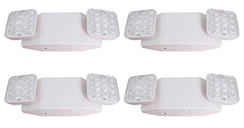 LIT-PaTH LED Emergency Exit Lighting Fixtures with 2 LED Heads and Back Up Batteries- US Standard Emergency Light, UL 924 and CEC Qualified, 120-277 Voltage (4-Pack)