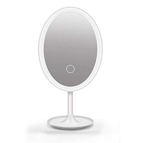 IREANJ Espejo de Espejo de maquillaje conducido Espejo de baño, maquillaje oval Espejo de baño con Creación de luces LED recargable de la pantalla táctil de control de luz 360 grados de rotación de me