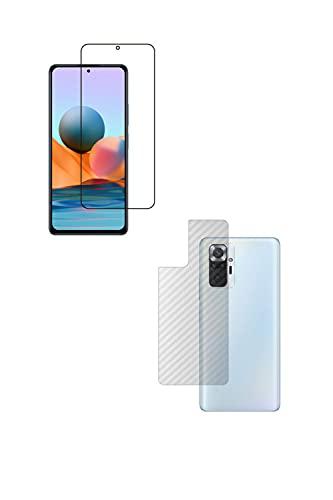 【2枚組(画面+背面)】ClearView(クリアビュー) Xiaomi Redmi Note 10 Pro 用【高硬度ブルーライトカット】液晶保護フィルム 傷に強い高硬度!ブルーライトカット率 30%以上!+カーボン調 背面保護フィルム 日本製