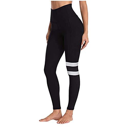 Pantalones de Yoga para Mujer Barras paralelas de Malla de Color sólido...