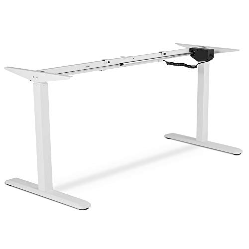 VonHaus Electric Sit Stand Desk Frame - Sitting and Standing Desk Converter/Riser - Low Noise Motorised Height and Width Adjustable (White)