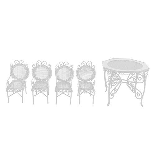 Muebles de casa de muñecas de metal en miniatura, muebles de casa de muñecas de bricolaje, decoración de jardín a escala 1:12 decorativa para decoración de interiores de casa de(White)