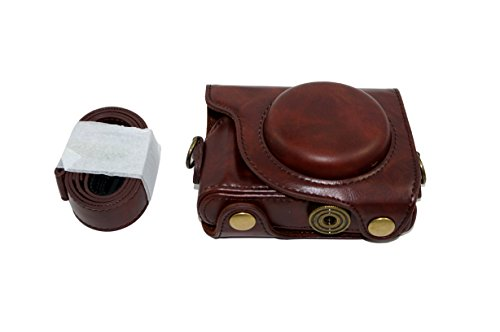 MINICO Protective PU Leather Camera Case Bag with Tripod Design Compatible for Canon PowerShot G9 X G9x with Shoulder Neck Strap Belt Dark Brown