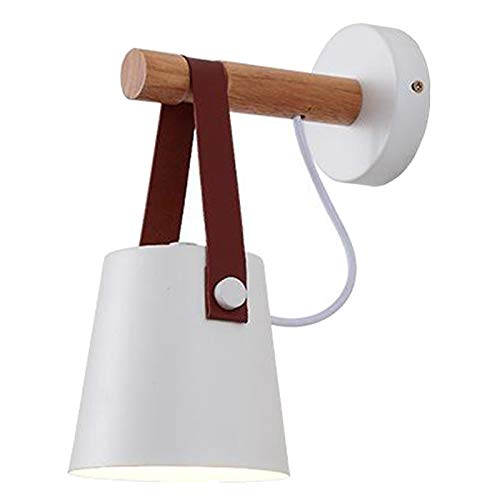 Nobranded Lámpara de Pared de Madera lámpara de Pared Vintage lámpara E27 220V mesita de Noche Retro Pantalla decoración Comedor Dormitorio luz sin Bombilla - Blanco
