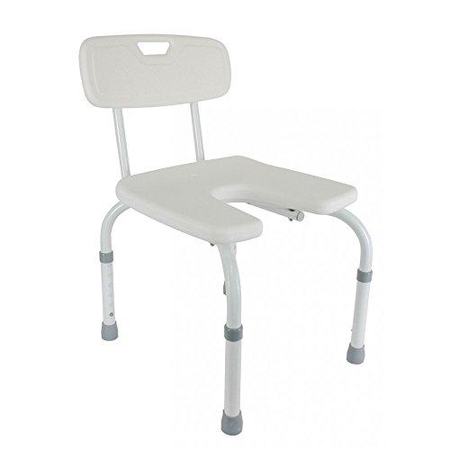 Silla de baño con asiento en U, Regulable, Blanca, Samba