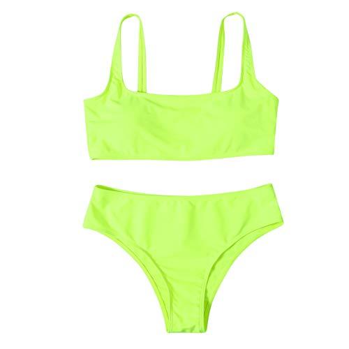 NISOWE Women Striped Push Up Hochgeschnittener Bikini-Set mit hoher Taille und zweiteiligem Badeanzug