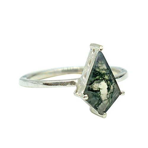 Natural Moss Agate Bargain Cheap mail order sales sale Gemstone Ring Beautif Green