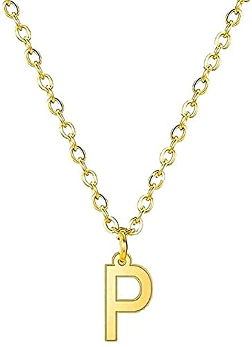 Yiffshunl Collar con Alfabeto Inicial Collar con 26 Letras Collar con Colgante con Nombre AZ Cadena de Acero Inoxidable para Mujer Regalo-p_Stahl_45cm Regalos