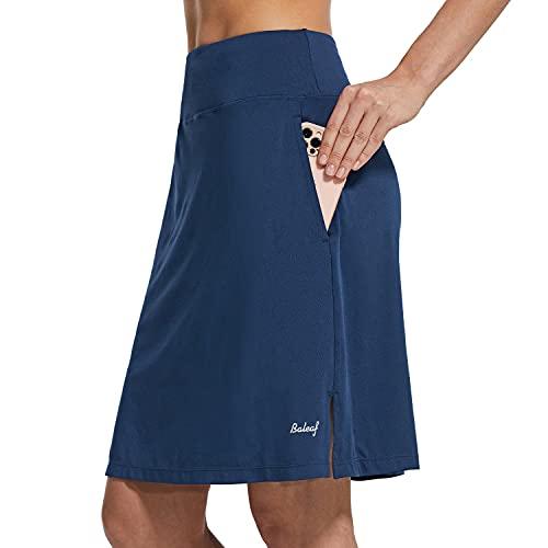 BALEAF Damen Knielange sportrock Athletic Golf Casual Sportskort Sport-Hosenrock Reißverschluss Tasche UV-Schutz Weich Blau L