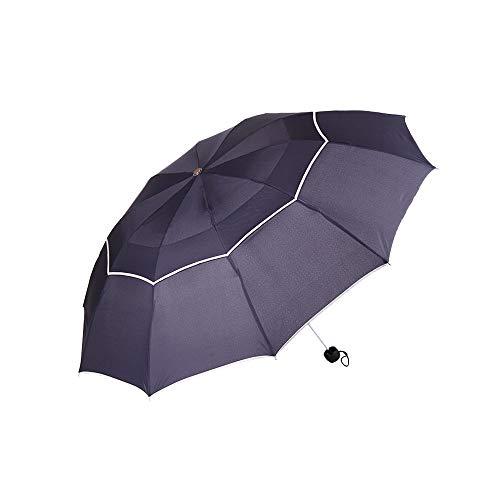 HYRL Tres Doblez Golf Umbrella, 130cm Grande Paraguas Cortavientos Sun 3 Plegable Grande al Aire Libre Paraguas Parapluie automático Paraguas,Blue