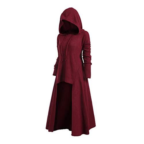 Mxssi Vintage Halloween Renaissance Mittelalter Kleid mit Kapuze Damenkostüm Retro Langarm Abendkleid Kostüm Lang Pullover Midikleid Plus Größe Gr. XXXXL , Weinrot