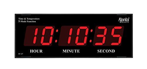 Ajanta Plastic Quartz Digital Wall Clock for Home and Office (Black , Red)