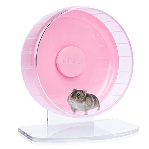 Niteangel Super-Silent Hamster Exercise Wheels: - Quiet Spinner Hamster Running Wheels with Adjustable Stand for Hamsters Gerbils Mice Or Other Small Animals (S, Pink)