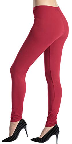 Ndoobiy Womens Leggings Black Legging Women Basic Solid Color Soft Yoga Pants Regular/Plus Size Capris Leggings for Women L8(Wine Red PS)