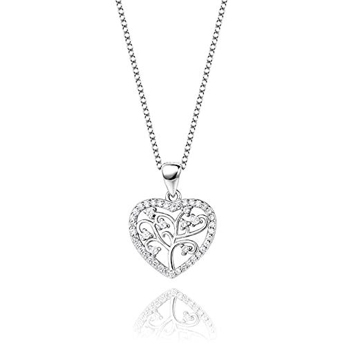 S925 Collar de árbol de la Vida en Forma de corazón de Plata esterlina Simplicidad Moda para Mujer Secklace Joyería ColganteTemperamento
