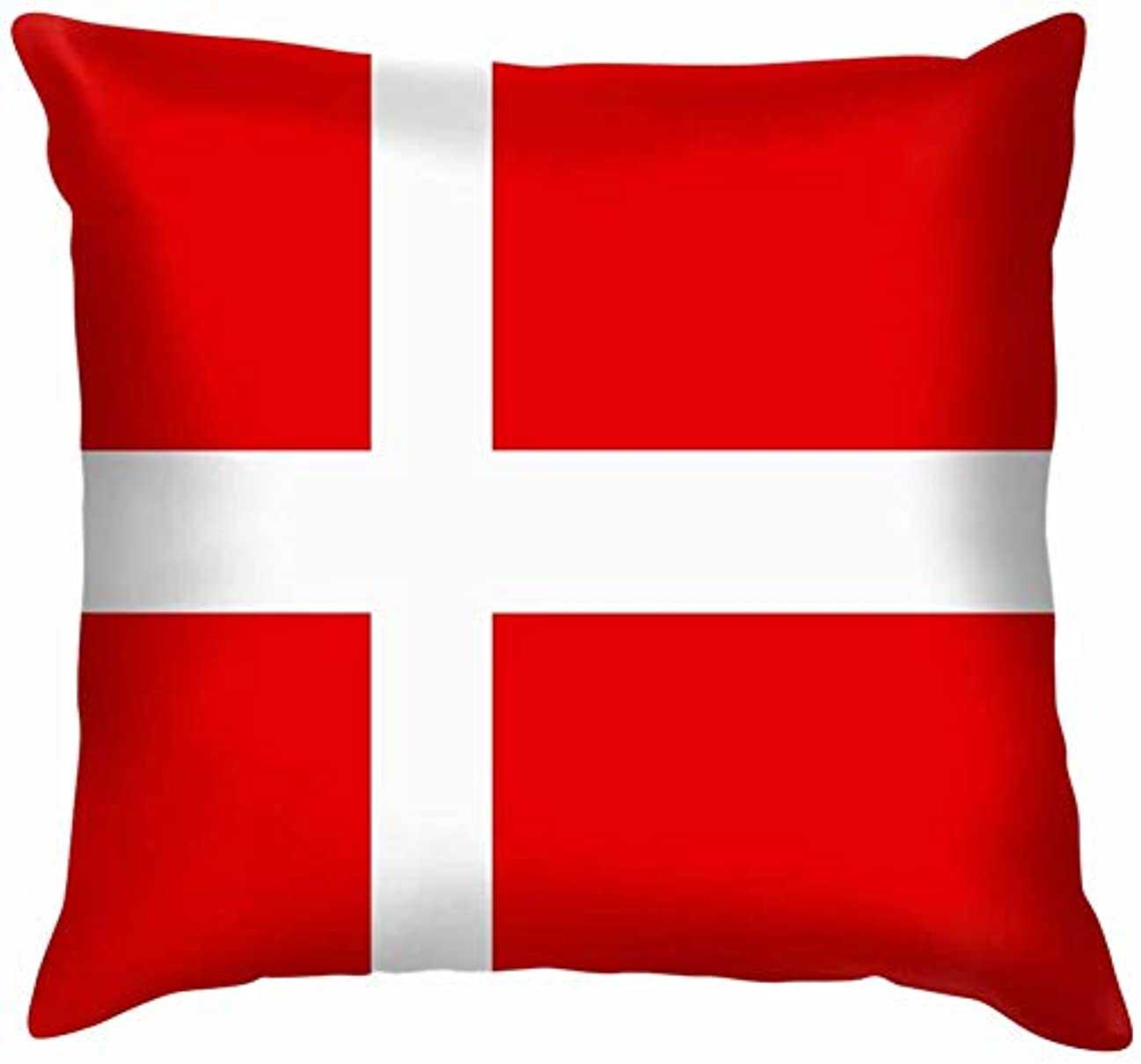 光沢下読み書きのできないデンマーク国旗アイコン投げ枕カバーホームソファクッションカバー枕ケースギフト45x45 cm