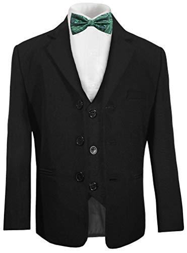 Paul Malone - Festlicher Kinder Anzug für Jungen 5tlg schwarz - Kommunionanzug Taufanzug mit Fliege grün 134-140 (9-10 Jahre)