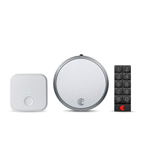 August Smart Lock Pro + Connect Wi-Fi Bridge, 3rd gen - Dark Gray, Works with Alexa, HomeKit & Zwave, Now with Smart Keypad for Secure Code Entry