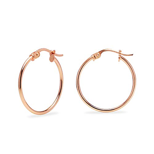 Rose Gold Flashed Sterling Silver Thin Lightweight Small Round Tube Hoop Earrings, 20mm - 4/5\'