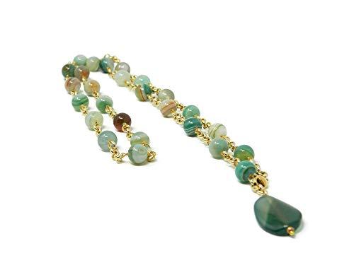 Collar largo con piedras naturales de ágata verde floral