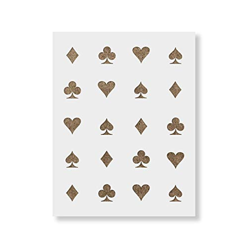 Hearts Clubs Diamonds Spades Stencil - Reusable Stencils for Painting - Mylar Stencil for DIY Projects and Crafts