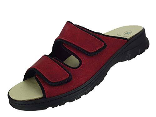 Algemare Pantolette Sandalette Nubuk Red waschbares Algenkork Wechsel-Fußbett Serrapielfutter 6446_0857, Größe:42 EU