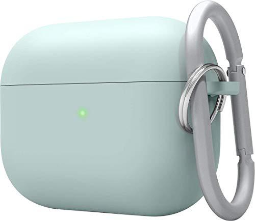 elago Liquid Hybrid Silikon Hülle mit Karabiner entwickelt für Apple AirPods Pro Ladecase – Dreischichtige Struktur : Voller Schutz, LED Sichtbar, Hochwertiges Silikon AirPods Pro Schutzhülle (Mint)