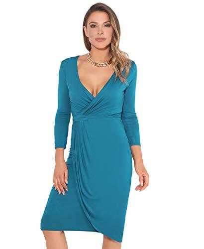 KRISP Abito Donna Elegante Scollo V Fashion Moderno Taglie Forti Sexy Cocktail Curvy Maniche 3 4 Corto Vestito, tè Blu (6174), 42 EU (10 UK), 6174-ROY-10