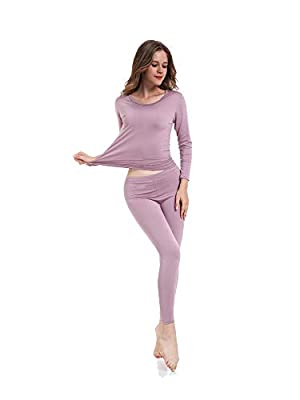 TAW Womens 2pc Ultra Soft Thermal Underwear Set Fleece Lined Shirt and Long John Light Purple from