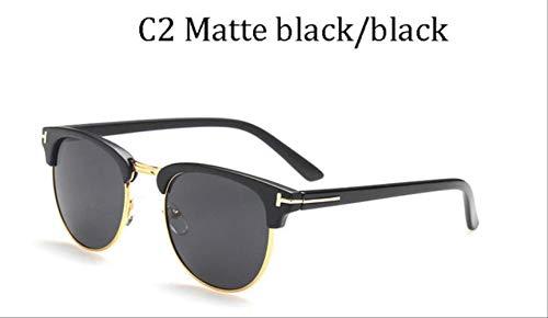 KJGTR Men's sunglassesLuxus James Bond Classic Modemarke Männer Frauen Tom Sonnenbrille Weiblich Half Frame UV400 männlich T Sonnenbrille Okulos Gafas de Sol 80150 C2