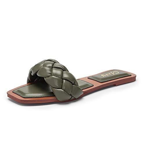 QAZW Sandalias Trenzadas para Mujer, Vestido de Verano Zapatos Cuadrados Sin Espalda, Zapatos de Diapositivas con Tiras y Bloque de Puntera Abierta,Green-6