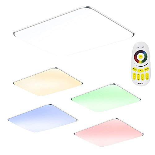 48W LED Deckenleuchte RGB Modern Deckenlampe Ultraslim Schlafzimmer Küche Flur Wohnzimmer Lampe Wandleuchte Energie Sparen Licht Silber