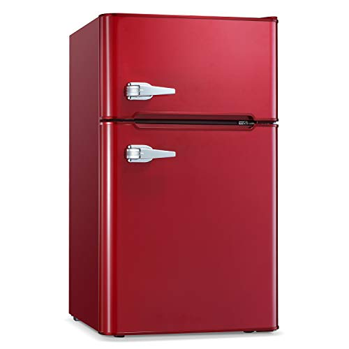 Antarctic Star Compact Mini Refrigerator Separate Freezer, Small Fridge Double 2-Door Adjustable Removable Retro Stainless Steel Shelves Garage Camper Basement/Dorm/Office 3.2 cu ft.Red