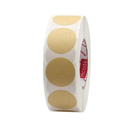 Hcode 2,5 cm Farbkodierung Etikett Preisaufkleber Garage Verkauf Aufkleber blanko Yard Sale rund Permanent Klebepunkte Aufkleber glänzend beschreibbare Papieretiketten 1000 Stück Kraft
