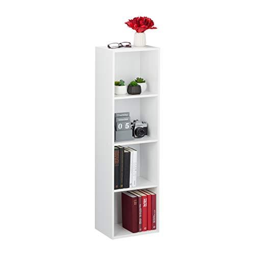 Relaxdays Bücherregal 4 Fächer, modernes Design, Wohnzimmer, Standregal schmal, aus PB, HxBxT: 106 x 30 x 23 cm, weiß, 1 Stück